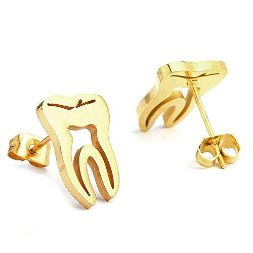 Upper Molars - AOCHEE Tooth Earrings Studs Dental Earrings for Women in Silver Gold Rose Gold Color