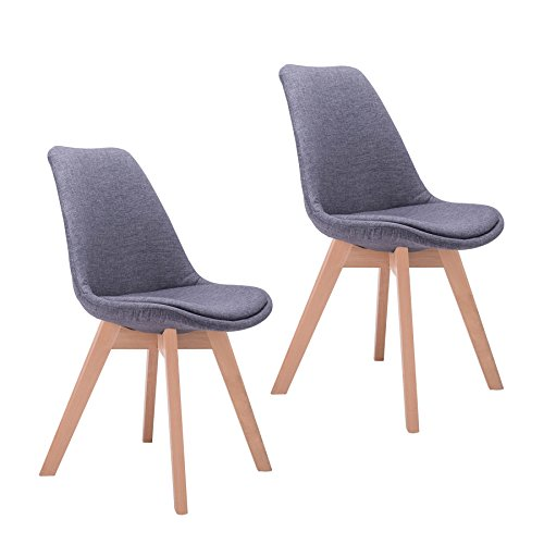 CO-Z Mid Century Modern Dinning Chairs, Modern Eames DSW Eiffel Side Chair for Kitchen (Sets of 2, Grey) by CO-Z