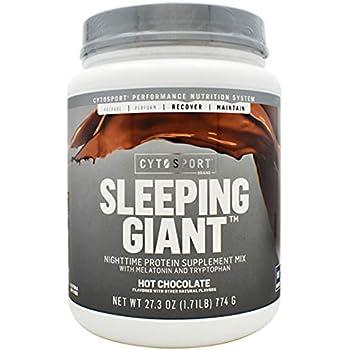Cytosport Sleeping Giant Hot Chocolate Nighttime Protein Supplement Powder - with Melatonin & Tryptophan (1.8