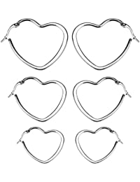 Fashion Multi-size Stainless Steel Hoop Earrings Set 3 Pairs For Women& Girls in Golden/Silvery