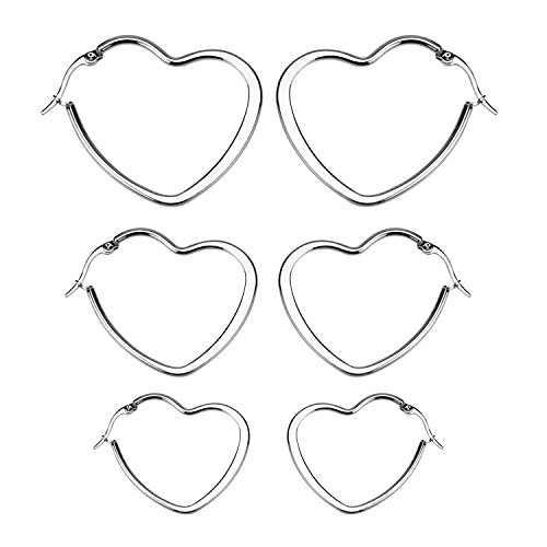 Heart Hoop Earring Set - 7