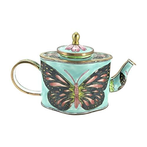 (Blue Butterfly Miniature Teapot by Kelvin Chen, Enameled, 2.75 W x 5 T)