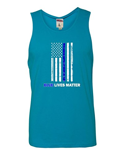 Back Support Blt - Go All Out X-Large Turquoise Adult Blue Live Matter Thin Blue Line Support Police Sleeveless Tank Top T-Shirt