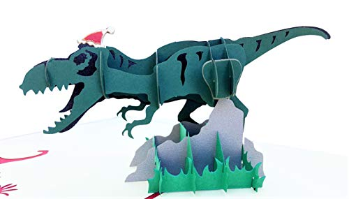 iGifts And Cards Awesome Christmas Dinosaur 3D Pop Up Greeting Card - Merry Christmas, Season Greetings, Half-Fold, Holiday Gift, Fun, Happy New Year, Jolly, Unique, Special, Large, Hat, T-Rex, Funny (Merry Christmas And Happy New Year Greeting Card)