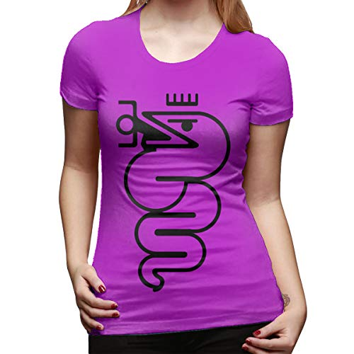 SHENGN Womens Personalized Slim Tee Shirt Alfa Romeo Logo Short Sleeve New Tshirt Fuchusia XXL