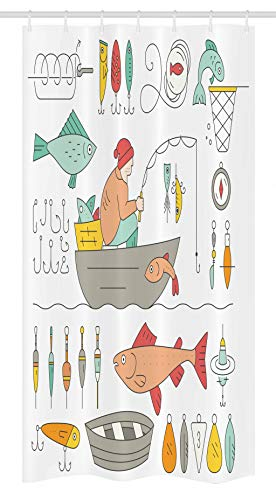 Ambesonne Nautical Stall Shower Curtain by, Fishing Gear Fisherman in the Boat Catching Fish Rod Bobber Tackle, Fabric Bathroom Decor Set with Hooks 36 W x 72 L Inches, Almond Green Peach Mustard