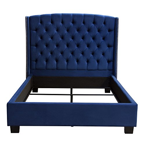 Diamond Furniture MAJESTICCKBEDNB Majestic Cal King Tufted Bed in Royal Navy Velvet with Nail Head Wing Accents ()