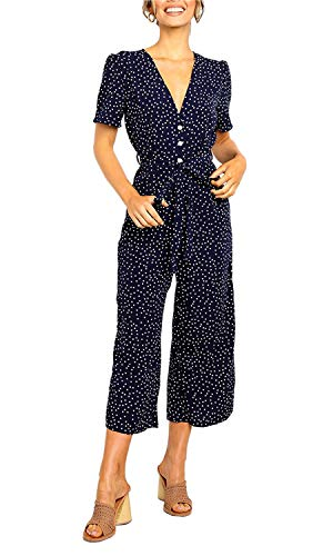 Logtem Womens Polka Dot Deep V Neck Button Belted Wide Leg Jumpsuit Pants Navy -