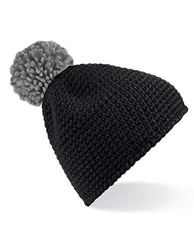 gofre Black Mujer Pompon Hombre para de de invierno con aspecto Grey y Gorra aI1pRS