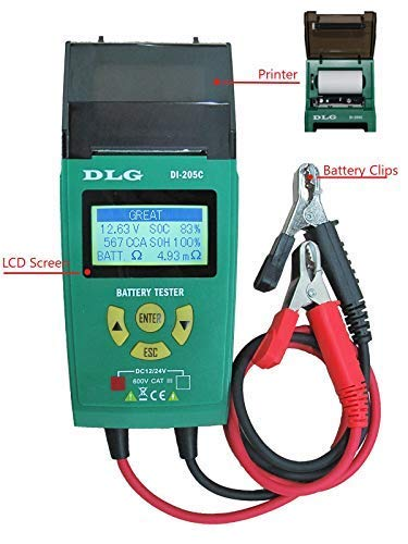 DLG DI-205C 12V 24V Automotive Truck Battery Tester Checking CCA/SOH/Internal Resistance/Starting System/Charging System/Maximum Load System Printer English Spanish Interface by DLG (Image #4)