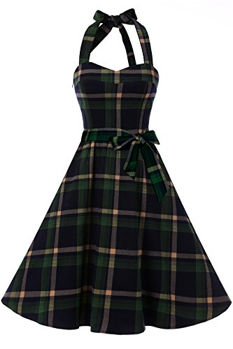 Topdress Women's Vintage Polka Audrey Dress 1950s Halter Retro Cocktail Dress Green Plaid 3XL