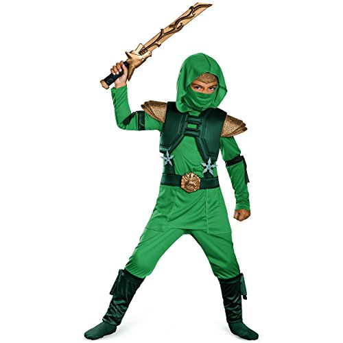 Ninja Costumes (Shadow Ninja Green Master Ninja Deluxe Boys Costume, One Color,)