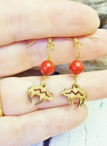 Wood Mama Bear Dangle Earrings Hippie Best Friend Gift Handmade Boho Jewelry Coral Beaded Rustic Tribal Earrings Zuni Bear Wooden Earrings