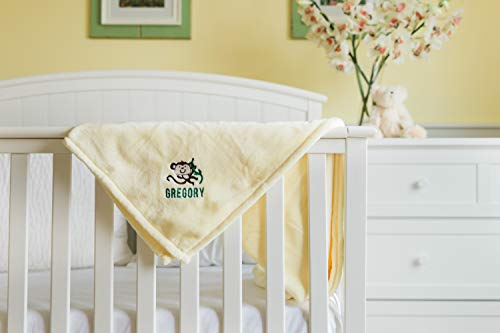 Unique Monkey Gift (Personalized Baby Custom Blanket with Embroidered Name 30