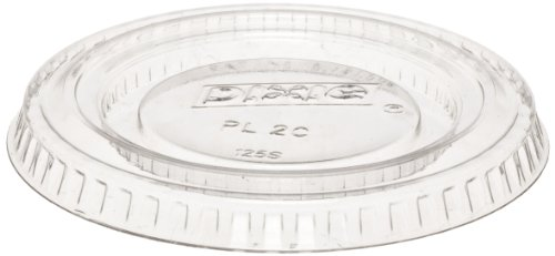 Dixie PL2C Plastic Lid Fits 1.5 oz. and 2 oz. Dixie Plastic Souffle Cups, Clear (24 Sleeves of 100)