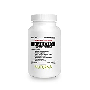 Diabetic Support Supplement by Nuturna® - 28 Herbs & Vitamins - Nutritional Support For Lower Blood Sugar - Healthy Body Weight & Extra Energy - Diabetic Multivitamins For Men & Women - 60 Pack/Bottle