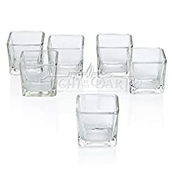 Clear Glass Square Votive Candle Holders...