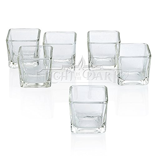 ear Glass Square Votive Candle Holders Set of 12 ()