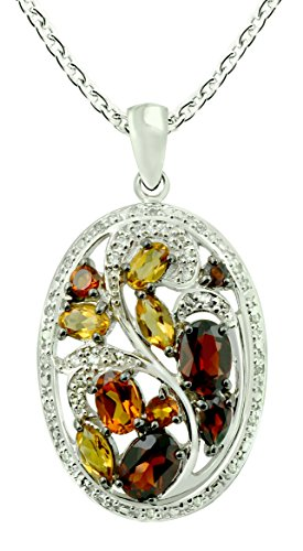 Madeira Citrine Gemstone - RB Gems 5.03 Carats Madeira Citrine with Garnet Sterling Silver Statement Pendant with Chain