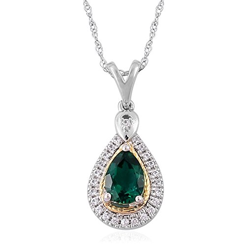 10K YG & Silver Created Sapphire Created Emerald Pendant without Chain -ST ()