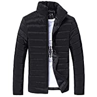 aliveGOT Men's Warm Slim Fit Stand Collar Winter Outwear Jacket Solid Thick Coat