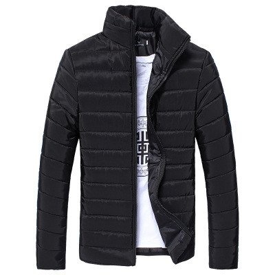 Fabal Winter Men Thick Coat Stand Collar Cotton Jacket Zipper Warm Solid Color Overcoat