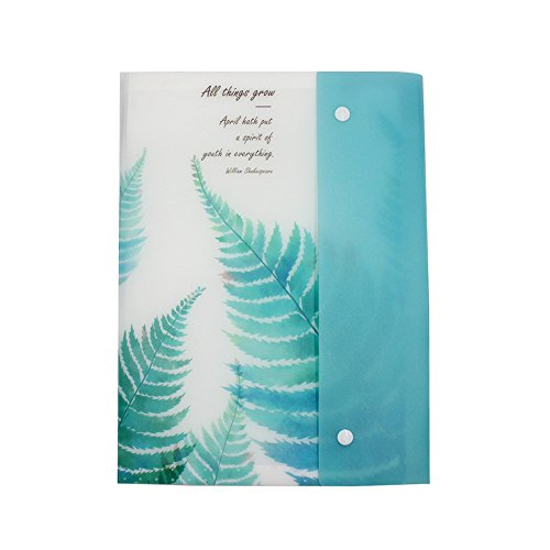 Eilova Plant Plastic A4 Expanding Accordion File Folder 8 Pockets Document Organizer Letter Size Storage Bag with Snap Closure for Receipts, Tickets ()