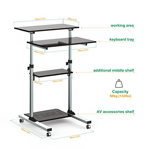 Monitor Arms Stands ONKRON Mobile Stand Up Desk Height Monitor