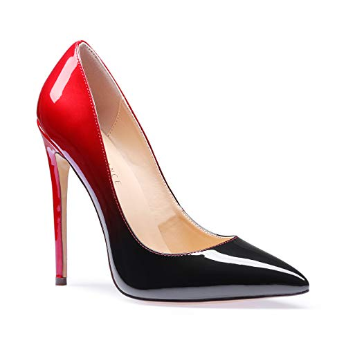 (SUNETEDANCE Women's Slip-on Pumps High Heels Pointy Toe Sexy Elegant Stiletto Heels 12CM Heel Shoes Patent Red Black Pump 10 M US)