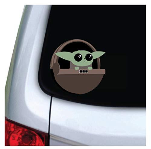 M&R Cute Green Baby Alien - Vinyl Decal Sticker - for Car, Truck, Vehicle, Window, Bumper, Laptop