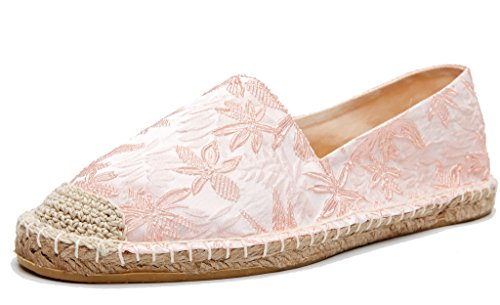 U-lite Jacquard Foral Espadrilles Women Shoes Slip-On Loafers Pink 6.5