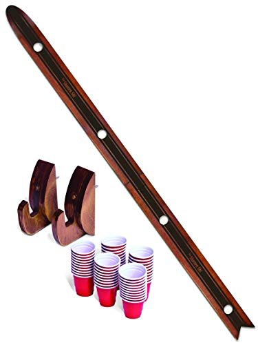 GoPong Das Shotten Ski | Rustic Wood 4 Person Drinking Ski with 50 Plastic Shot - Stained Solid Wood