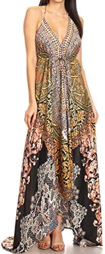 Sakkas 1817 - Lizi Womens Maxi High-Low Halter Handkerchief Long Dress Beach Party - ORBK233-Black - OS