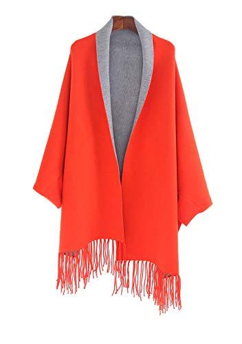 Elebrey Women's Cashmere Poncho Cape Cardigan Wrap Shawl Sweater Coat Winter Boho Kimono Tassel Reversible