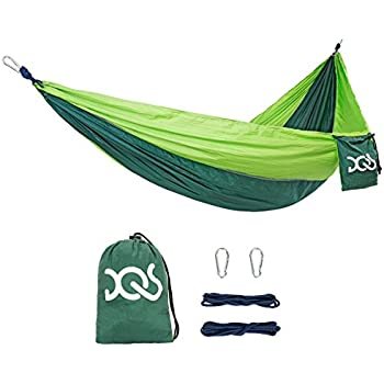 DQS Double Camping Hammock, Portable Lightweight Parachute Nylon Fabric Hammock,600 lbs Capacity, for Outdoor, Hiking, Camping, Backpacking, Travel, Backyard, Beach, Any Adventure
