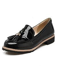 DecoStain Women's Patent Leather Tassel Loafers Flat Work School Low Heel Shoes