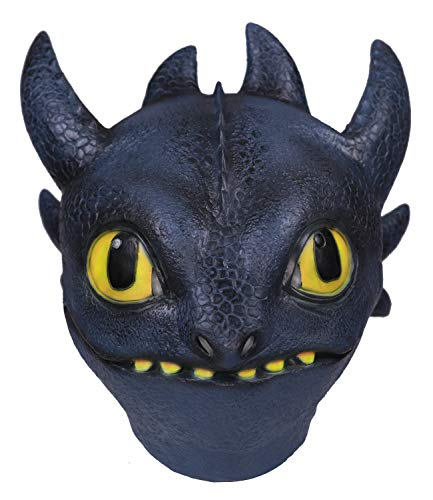 Toothess Mask Latex How to Train Your Dragon Halloween Cosplay Costume Accessory Prop Black]()