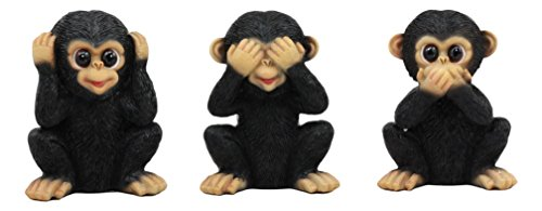 (Ebros Silly See Hear Speak No Evil Baby Chimpanzees Figurine Set of 3 Three Wise Apes of The Jungle No Evils Monkeys Collectible Decor 4