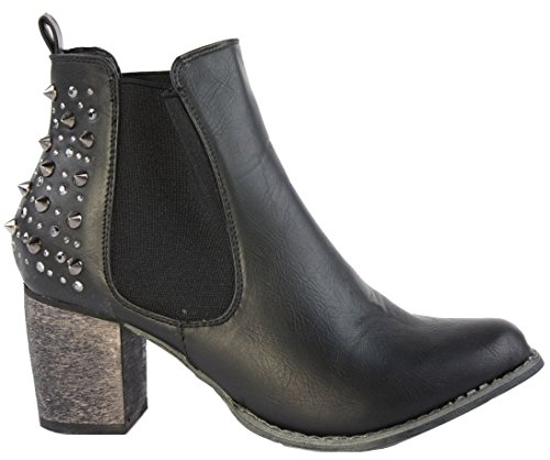 Heel Boots Western Cowboy Style Booties Black Winter Ankle Womens Size 3 Shoes 8 New Ladies Chelsea RqvIxUwn