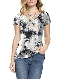 Womens Scoop Neck Short Sleeve Tee Tops Cotton T-Shirts for Summer