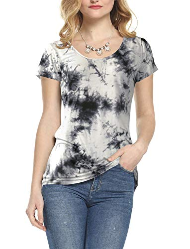 Amoretu Short Sleeve Casual Top Blouse Tie Dye Summer T-Shirts for Women(White,S)