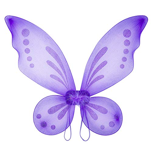 Attitude Studio Butterfly Pixie Fairy Glitter Wings, Lightweight Elastic Straps, Mesh Angel Costume for Party, Pretend Play Dress Up Accessory, Halloween, One Size Fits Little Girls Women - Purple]()