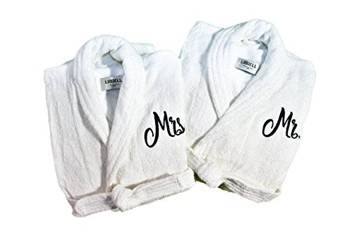 (Resort Spa Home Décor Mr. And Mrs. Monogrammed/Embroidered Luxury White Terry Cotton Spa Robe Set of 2 – Ideal for Wedding, Shower, Engagement, Christmas, or Anniversary Gift)