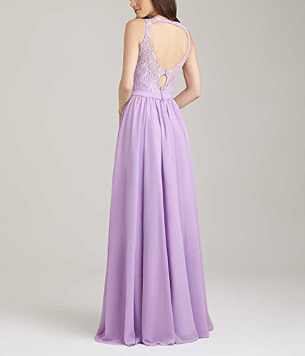 Gowns Scoop Bridal A Chiffon Evening Backless Neckline Party Prom Lilac line Beauty CHqZ8wq
