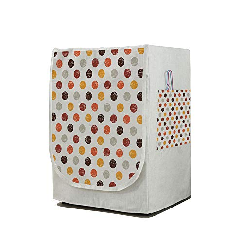 Price comparison product image Washing Machine Cover Waterproof Dust-proof Front Load Washer & Dryer Cover, Basketball, Ball Pattern in Earthen Tones Competition Sports Professional League Game Player Decorative, Multicolor, for Home D