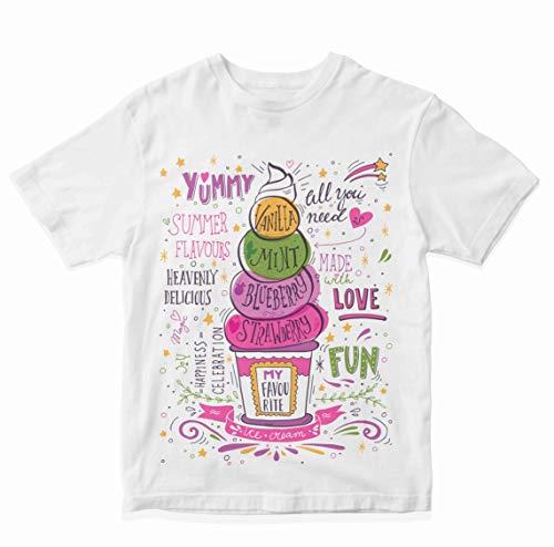 Heybroh Girls' Regular Fit T-Shirt Yummy Summer Flavours of Ice Cream 100% Cotton Girl's Unisex Fit T-Shirt
