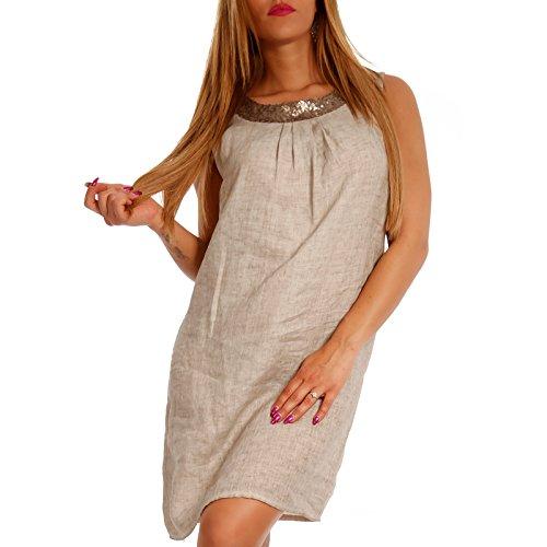 Sommerkleid mit Kragen Damen Leinen Tunika Beige Effekt Melange Minikleid Made am Italy Pailletendetails und BXaPwxq5n7