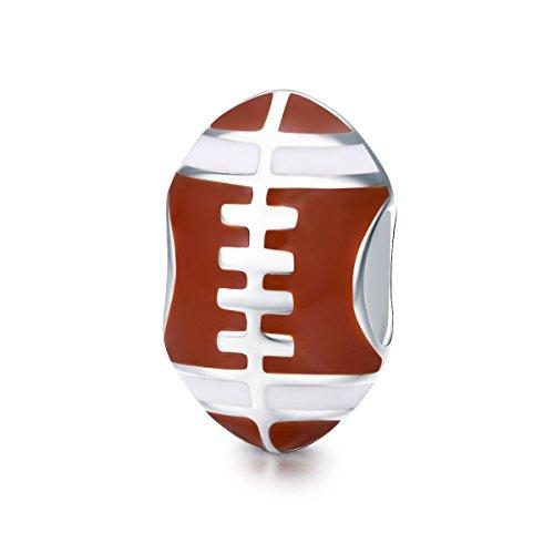 Everbling Sports Baseball Volleyball Tennis Ball Soccer USA Football 925 Sterling Silver Bead for European Charm Bracelet (American Football)]()