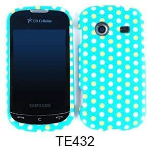 Cell Phone Case for Samsung Character R640 Yellow and White Polka Dots on Blue Green by runtopwell