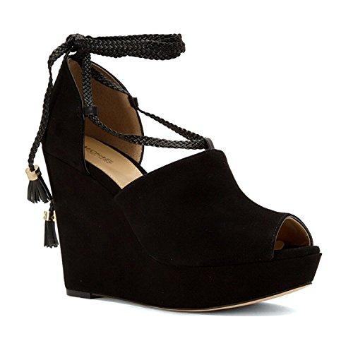 MICHAEL Michael Kors Women's Hastings Wedge Black Kid Suede/Nappa 11 - Black Suede Footwear Nappa